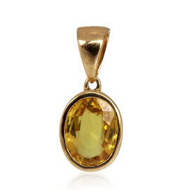 ILIANA 18K Y Gold AAA Yellow Sapphire (Ovl) Solitaire Pendant 1.750 Ct.