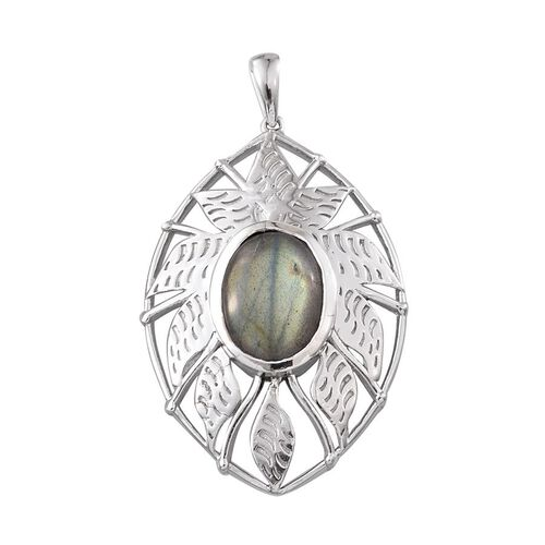 Labradorite (Ovl) Pendant in Platinum Overlay Sterling Silver 6.750 Ct.
