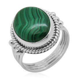 Royal Bali Collection Malachite (Ovl) Solitaire Ring in Sterling Silver 7.440 Ct.