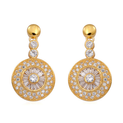 ELANZA AAA Simulated Diamond (Rnd) Earrings (with Push Back) in 14K Gold Overlay Sterling Silver