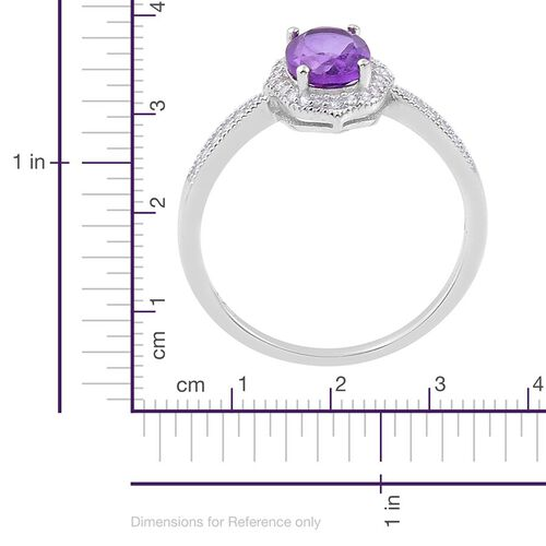 Lusaka Amethyst and Simulated White Diamond Ring in Rhodium Plated Sterling Silver 1.500 Ct.