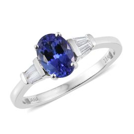 ILIANA 18K White Gold 1.50 Carat AAA Tanzanite Ring With Diamond SI G-H