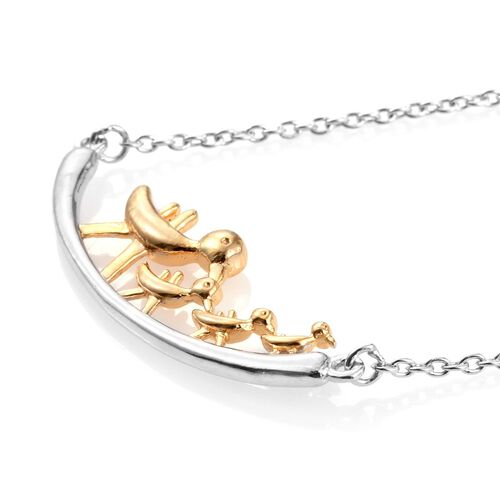 The Duck Family Silver Necklace in 2 Tone Platinum and Gold Overlay Size-18Inch. 5.40 Gms.