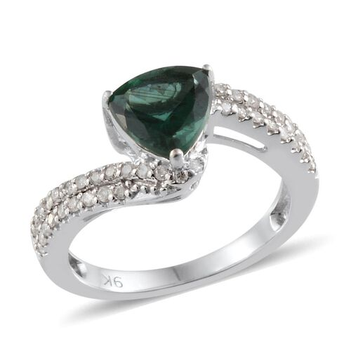 9K W Gold Ocean Green Apatite (Trl 1.65 Ct), Diamond Ring 1.950 Ct.