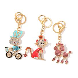Set of 3 - Multi Colour Austrian Crystal Poodle Dog, Cat and Rabbit Design Key Chains in Yellow Gold Tone