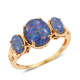 Australian Boulder Opal (Ovl 2.50 Ct) 3 Stone Ring in 14K Gold Overlay Sterling Silver 3.750 Ct.