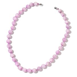 AAA Rare Size Kunzite Ball Bead Necklace (Size 20) in Rhodium Plated Sterling Silver 476.000 Ct.