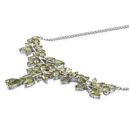 AA Hebei Peridot (Pear 1.50 Ct) Necklace (Size 18) in Platinum Overlay Sterling Silver 16.250 Ct.