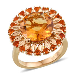 JCK Vegas Collection Citrine (Rnd 5.32 Ct), Jalisco Fire Opal Ring in Yellow Gold Overlay Sterling Silver 5.913 Ct.