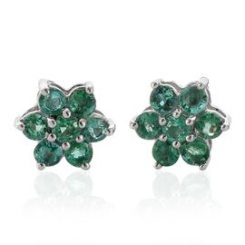RHAPSODY 950 Platinum 0.85 Ct Boyaca Colombian Emerald Floral Stud Earrings (with Screw Back)