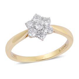 ILIANA 18K Yellow Gold 0.50 Carat IGI Certified Diamond SI G-H 7 Stone Floral Ring