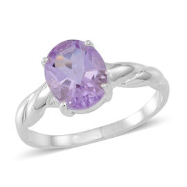 Rose De France Amethyst (Ovl) Solitaire Ring in Sterling Silver 2.500 Ct.