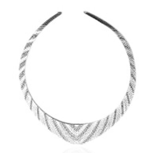 (Option 1) Vicenza Collection Rhodium Plated Sterling Silver Cleopatra Necklace (Size 17), Silver wt 30.17 Gms.