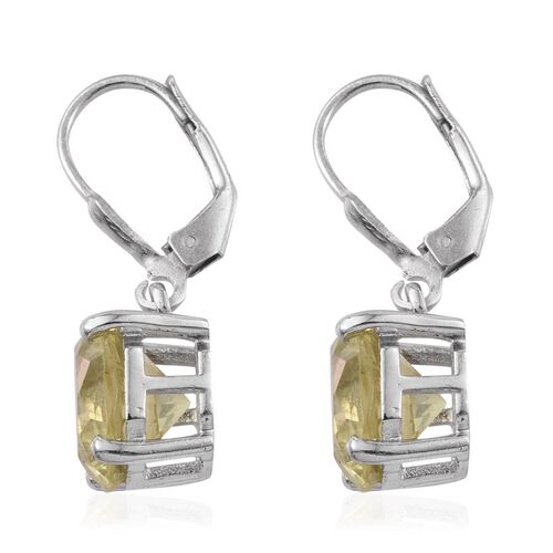 Natural Ouro Verde Quartz (Octillion Cut) Lever Back Earrings in Platinum Overlay Sterling Silver 7.000 Ct.