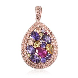 AAA Simulated Ruby (Pear), Simulated Amethyst, Simulated Tanzanite, Simulated Citrine, Simulated Champagne Diamond and Multi Gem Stone Pendant in ION Plated 18 Rose Gold Stainless Steel Bond