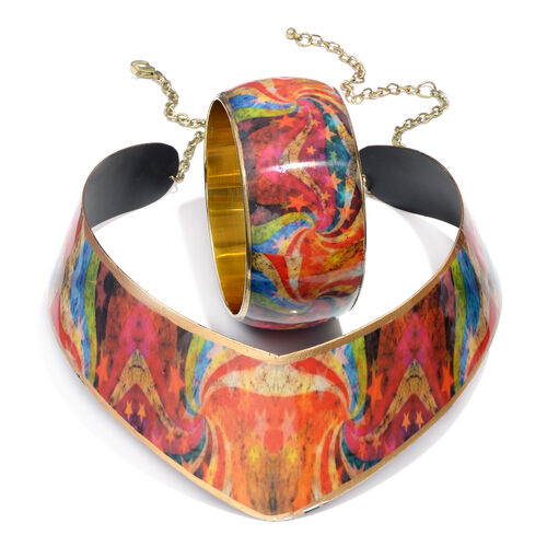 (Option 3) Printed Statement Choker Necklace and Bangle