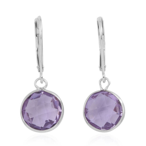 Rose De France Amethyst (10.0mm) Lever Back Earrings in Rhodium Plated Sterling Silver 5.500 Ct.