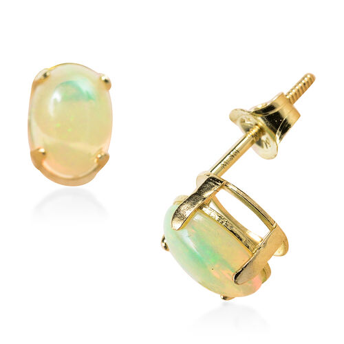 14K Y Gold Ethiopian Welo Opal (Ovl) Stud Earrings 1.130 Ct.