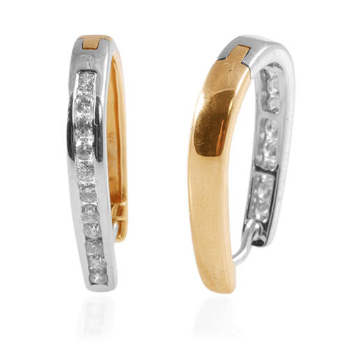 Diamond 14K Yellow, White Gold Hoop Earring 0.858 Ct.