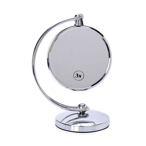 Multi Potsition Double Sided Mirror in Silver Tone-3 x mag.