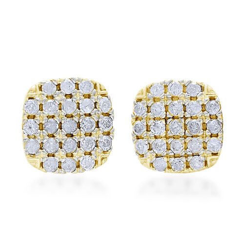 9K Yellow Gold 0.50 Carat Diamond Stud Earrings SGL Certified I3 G H