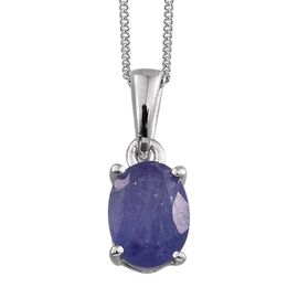 Mrembo Tanzanite (Ovl) Solitaire Pendant With Chain in Platinum Overlay Sterling Silver 1.250 Ct.