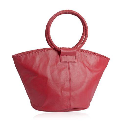 Designer Inspired - 100% Genuine Leather RFID Blocker Red Colour Handbag (Size 35X25X15 Cm)