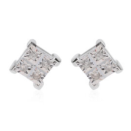 One Time Deal 9K W Gold Diamond (Rnd) Stud Earrings (with Push Back) 0.100 Ct.