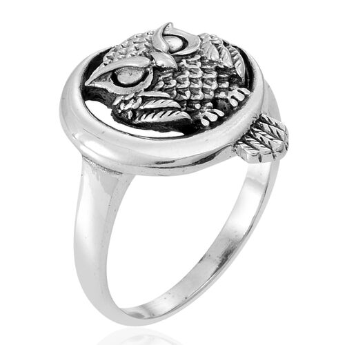 Thai Rhodium Plated Sterling Silver Owl Ring, Silver wt 4.80 Gms.