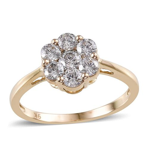 9K Y Gold (Rnd) 7 Stone Floral Ring Made With SWAROVSKI ZIRCONIA