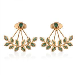 Kagem Zambian Emerald (Rnd) Jacket Earrings (with Push Back) in 14K Gold Overlay Sterling Silver 2.000 Ct.