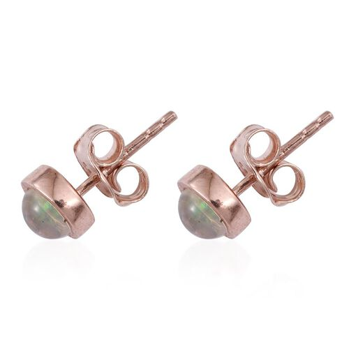 Ethiopian Welo Opal (Rnd) Stud Earrings (with Push Back) in Rose Gold Overlay Sterling Silver 0.500 Ct.