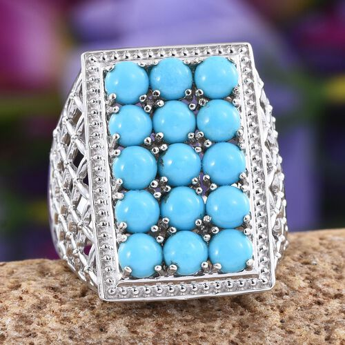 Arizona Sleeping Beauty Turquoise (Rnd) Ring in Platinum Overlay Sterling Silver 3.500 Ct.