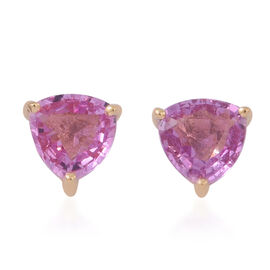 ILIANA 18K Yellow Gold 1 Carat Pink Sapphire Trillion Solitaire Stud Earrings with Screw Back.