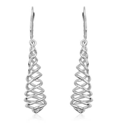 Designer Inspired Platinum Overlay Sterling Silver Swirl Lever Back Earrings, Silver wt 5.21 Gms.