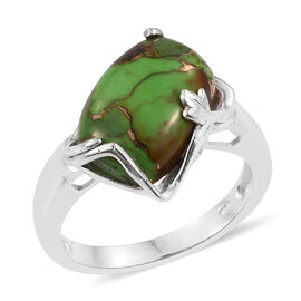 Mohave Green Turquoise (Cush) Solitaire Ring in Sterling Silver 5.500 Ct.