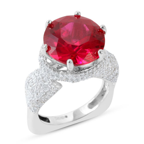 AAA Simulated Pink Sapphire (Rnd), Simulated Diamond Ring in Rhodium Plated Sterling Silver