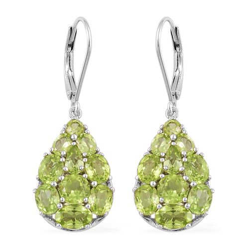 AA Hebei Peridot (Rnd) Lever Back Earrings in Platinum Overlay Sterling Silver 6.500 Ct.