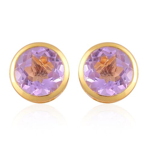 Rose De France Amethyst (Rnd) Stud Earrings (with Push Back) in Yellow Gold Overlay Sterling Silver 3.000 Ct.