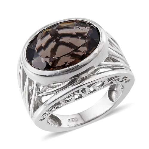 Brazilian Smoky Quartz (Ovl) Solitaire Ring in Platinum Overlay Sterling Silver 7.250 Ct.