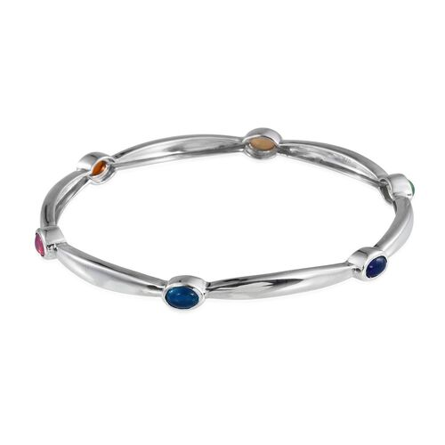 AA Ethiopian Welo Opal (Ovl), Pink, Green, Orange, Blue and Paraiba Ethiopian Opal Bangle (Size 7.5) in Platinum Overlay Sterling Silver 2.000 Ct.