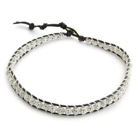 Shell and White Austrian Crystal Friendship Bracelet (Adjustable)