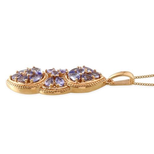 Tanzanite (Pear) Pendant With Chain in 14K Gold Overlay Sterling Silver 3.000 Ct.