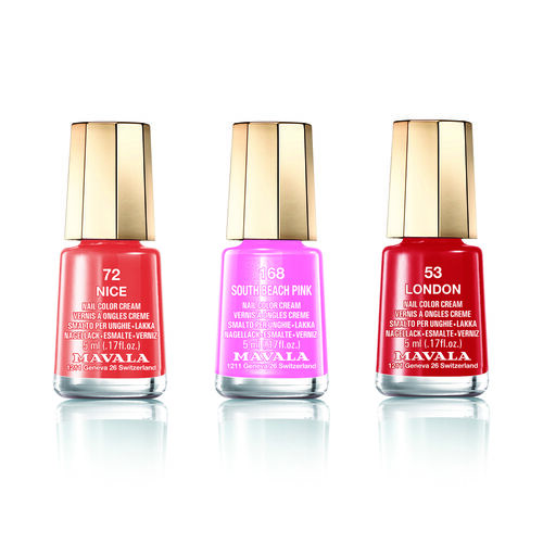 MAVALA-3 pcs Nail Polish Set 3- London 53 Nice 72 and South Beach Pink 168