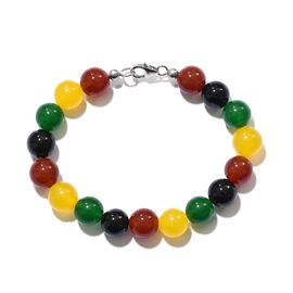 Rare Size Red, Black, Green and Yellow Agate Bracelet (Size 7.5) in Platinum Overlay Sterling Silver 94.130 Ct.