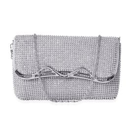 White Austrian Crystal Silver Tone Clutch Bag with Chain Strap (Size 19x11 Cm)