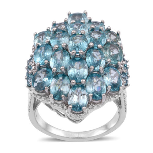 Natural Cambodian Blue Zircon (Ovl) Cluster Ring in Rhodium Plated Sterling Silver 25.000 Ct.