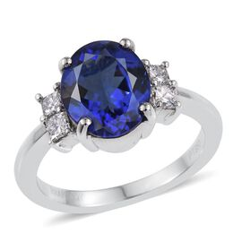 RHAPSODY 950 Platinum 5 Carat AAAA Tanzanite Oval, Diamond VS E-F Ring.