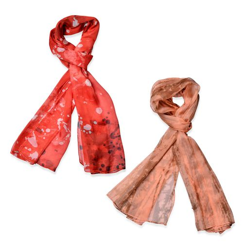 Set of 2 - Designer Inspired Orange and Chocolate Colour Scarf (Size 175x70 Cm)