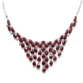 African Ruby (Ovl), White Topaz Necklace (Size 18) in Rhodium Plated Sterling Silver 70.000 Ct.